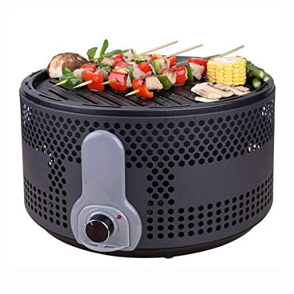 Portable Smokeless Charcoal Electric BBQ Grill Compact Barbecue Grill for Backyard Camping Picnic Party with Removable Turbo Fan Travel Bag Black