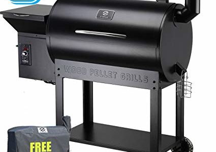 Z Grills Wood Pellet Grill and Smoker 700Sq in. With Seri-2 Contrlol Systerm For Outdoor bbq smoke Roast Bake Braise Grilling 7-in-1 Barbecue Grill Waterproof Cover Gift Review
