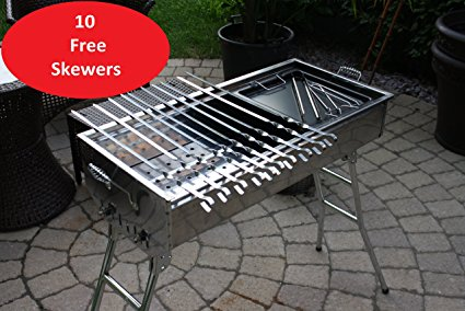 Stainless Steel Charcoal Grill Kebab BBQ Portable Mangal